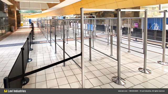 Airport,Barriers,Queuing,Security,SocialDistancing,QueueGuard,RigidRail,Stanchions